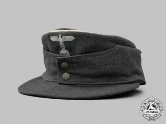 Germany, SS. A Waffen-SS Officer's White-Piped M43 Field Cap