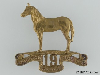 19th Edmonton Fusiliers R.C.A.C. Cap Badge, c. 1946