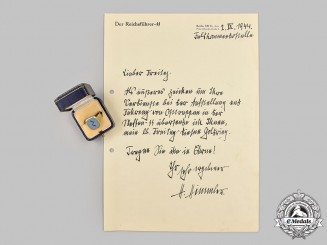 Germany, SS. A Gold Presentation Ring to SS-Brigadeführer Fritz Freitag, with Letter, from Reichsführer-SS Heinrich Himmler