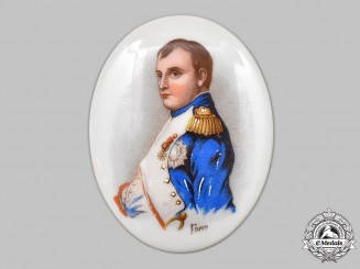 France, I Empire. A Portrait of Napoleon Bonaparte (Napoleon I) on Porcelain