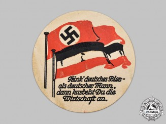 Germany, Third Reich. A Patriotic Beer Hall Coaster