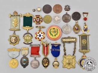 Canada, United Kingdom. A Lot of Twenty-Five Masonic and Fraternal Organizations Badges and Tokens