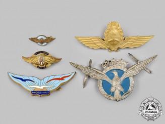Spain, Francoist Era; France, Fifth Republic; Argentina, Republic. A Lot of Five Air Force Badges