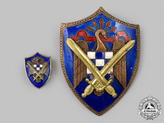Spain, Fascist State. A Falange Army Group Badge, Fullsize and Miniature