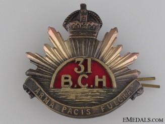 31st British Columbia Horse Cap Badge