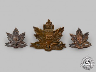 "Canada, CEF. A 213th Infantry Battalion ""Toronto Americans"" Insignia Set"