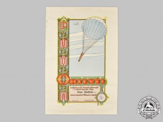 Hungary, Kingdom. An  Army Parachutist Certificate for Nineteen Jumps to András Kiss