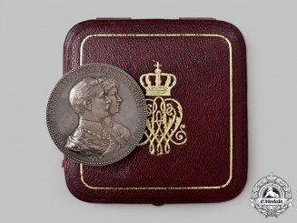 Germany, Imperial. A Golden Wedding Anniversary Medal in Silver, with Case, by Emil Weigand