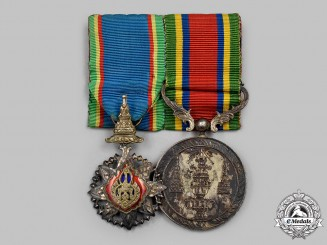 Thailand, Kingdom. An Order of the Crown of Thailand and Order of the White Elephant Pair, c.1945