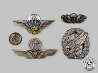 Germany, Italy, Morocco, United Kingdom, United States. A Lot of Five Parachutist Badges