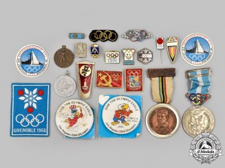 International. A Lot of Twenty-Two Items Bearing the Olympic Rings