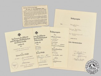 Germany, Heer. A Lot of Award Documents to Werner Grubba, Infantry Regiment Großdeutschland