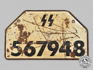 Germany, SS. A Rare Latvian SS Volunteer Unit Motorcycle License Plate