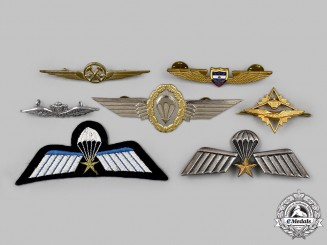 Colombia, Germany, Italy, Netherlands, Norway, International. A Lot of Seven Flight Badges