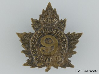 9th Overseas Mounted Rifles Cap Badge CEF