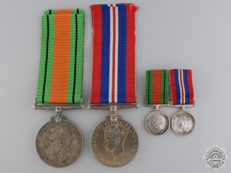 A Set of Second War British War Medals with Miniatures