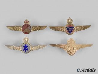 Australia, Commonwealth. A Lot of Four Civilian Airline Pilot Badges