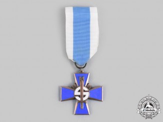 Finland, Republic. A Blue Cross for the Civil Guard for the 1917-1918 War, by Veljekset Sundqvist, c.1917