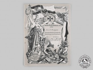 Germany, Imperial. A Support of the German Warrior Aid Association Certificate
