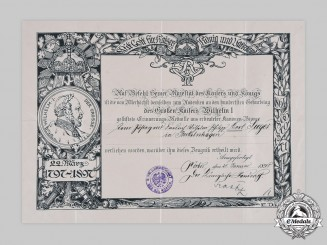 Germany, Imperial. A Wilhelm I Centenary Medal Certificate to Postal Worker Sieges