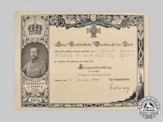 Germany, Imperial. A Lippe War Merit Cross Certificate to Gefreiter Wederty, 1916