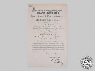 Austria, Imperial. A Franz Joseph Order Commander's Cross Document to Doctor of Crown Prince of Prussia, 1909