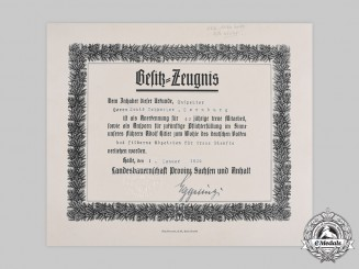 Germany, Third Reich. A Silver Loyal Services Badge Certificate from Farming Association of Saxony-Anhalt, 1936