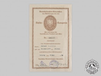 Germany, Third Reich. A Front Fighter Badge Certificate to Richard Laube