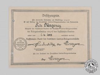 Germany, Weimar Republic. A Kyffhäuser League War Medal Document to Fritz Mageney, 1922
