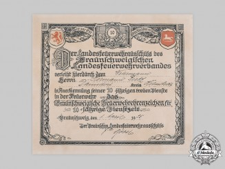 Germany, Third Reich. A Brunswick Firefighting Honour Badge for 10 Years of Service Certificate, 1935