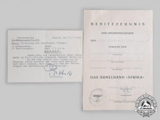 Germany, Heer. An Afrika Cuff Title Certificate with Accompanying Letter to Obergefreiter Plehn, 1943