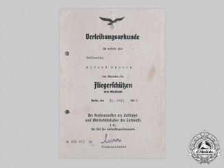 Germany, Luftwaffe. An Air Gunner & Flight Engineer Badge Certificate to Gefreiter Darcis, 1943