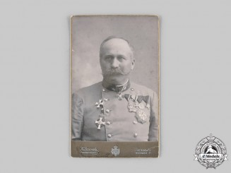 Austro-Hungarian Empire. A Studio Photo of an Internationally Decorated Army Officer