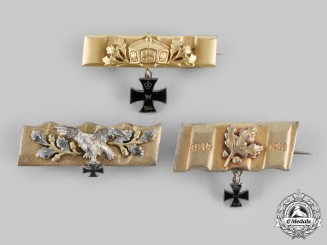 Germany, Imperial. A Set of Three Patriotic Iron Cross Brooches