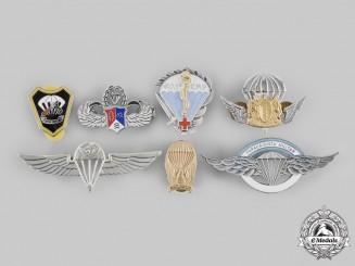 Argentina, Brazil, China, France, Libya, South Africa, Uganda. A Lot of Seven Paratrooper Badges