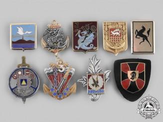 France, Republic. A Lot of Nine Armed Forces Regimental Insignia Badges