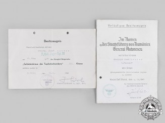 Germany, Heer. A Set of Award Documents to Oberjäger Josef Lauber, Gebirgs-Jäger-Regiment 91
