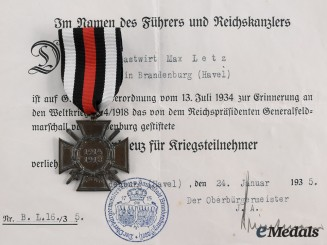 Germany, Third Reich. An Honour Cross of the World War 1914/1918, with Award Document to Max Letz, c. 1935