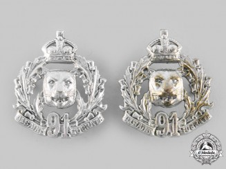 Canada, Dominion. A Pre-First War 91st Regiment Canadian Highlanders Collar Badge Pair