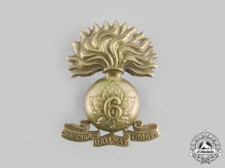 Canada, CEF. A Canadian Railway Troops Cap Badge, Grenade Design, by J.R.Gaunt