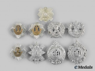 United Kingdom. Nine Regimental Glengarry Badges