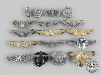 United States. A Lot of Seventeen United States Air Force, Army, Navy and Marine Corps Badges