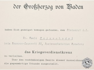Germany, Imperial. A Baden War Merit Cross Certificate to a Staff Surgeon, 1916