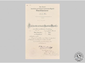 Austria, Imperial. A Large Military Merit Cross III Class Document, Infantry Regiment 61