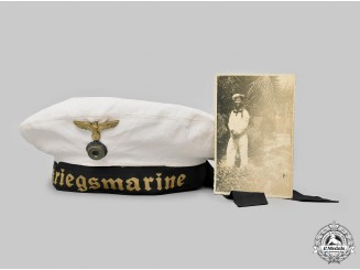 Germany, Kriegsmarine. A White Service Cap, with Owner's Photo