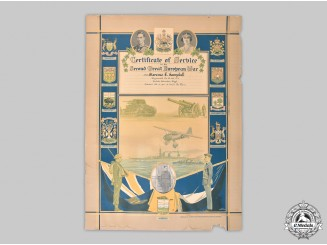 Canada, Commonwealth. A Large Certificate of Service in the Second Great European War