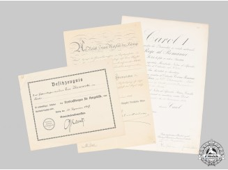 Germany, Imperial. Three Award Documents, Romanian & Prussian