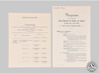 Germany, Imperial. A Program and Housing Plan for Visit of King of Spain to Berlin, 1905