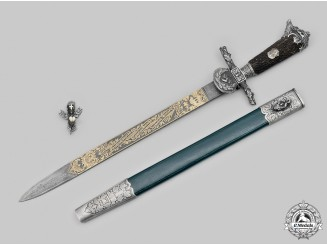 Germany, DJ. A Rare & Exquisite German Hunting Association Honour Cutlass with Damascus Blade, by Eickhorn