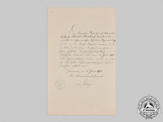 Germany, Imperial. A 25 Year Long Service Cross Document to Pour-le-Merite Recipient, 1903